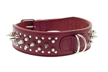 LEATHER SPIKES COLLAR 2,5X58CM RED