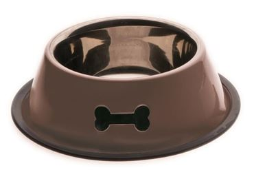 HEAVY INOX BOWL W.RUBBER CM.19 XL BROWN