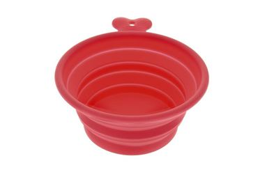 MEDIUM SILICONE BOWL EASY TRAVEL RED