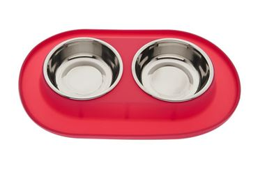 MEDIUM SILICONE DOUBLE BOWL RED