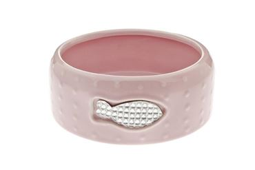 PORCEL.BOWL STRASS CAT 14,5X5,5CM PINK