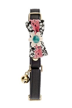COLLIER CHAT SWEET FLOWER 10MM GRIS