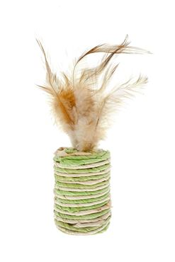 CAT TOY - CYLINDER W/FEATHERS