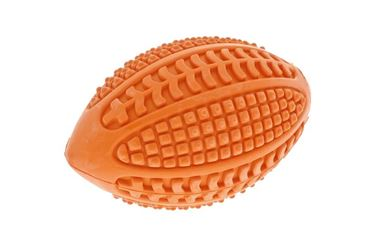 RUBBER DENTAL RUGBY BALL 10CM