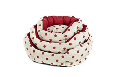 3 OVAL POIS DOGBEDS 40-50-60CM RED