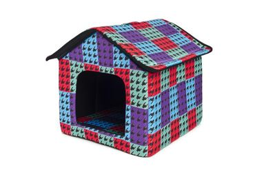 DOGBED HOUSE COTTON 45X47X46CM PIED-DE-P