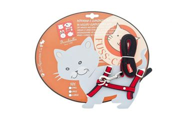 Εικόνα της HARNESS AND LEASH CAT ELASTICIZED VELVET ECO