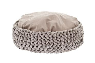 MACRAMÉ BASKET DOG BED 50CM GREY