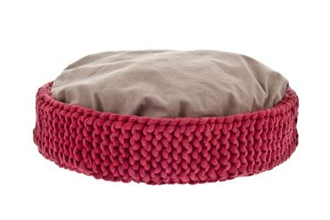 MACRAMÉ BASKET DOG BED 50X12CM RED