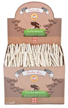 BOX 500P BLEACHED MUNCHY STICKS 4,5